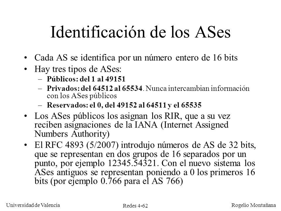 Identificación de los ASes