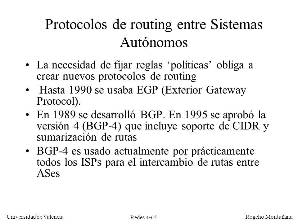 Protocolos de routing entre Sistemas Autónomos
