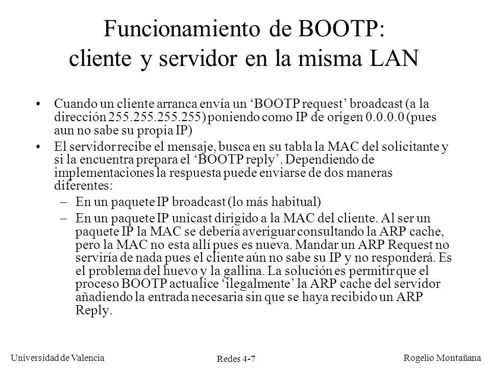 Funcionamiento de BOOTP: cliente y servidor en la misma LAN