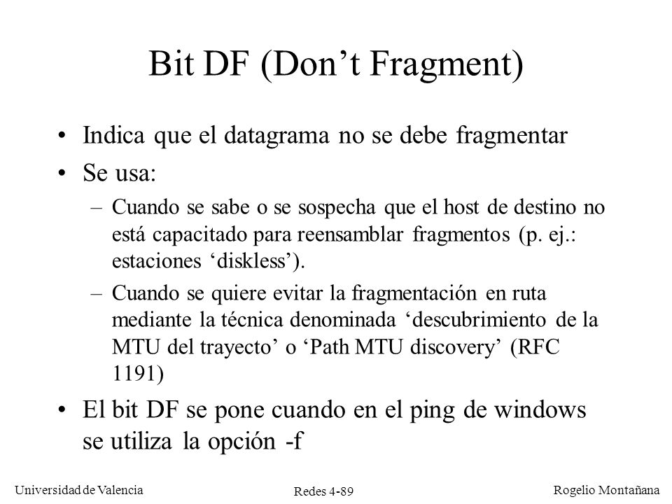 Bit DF (Don't Fragment)