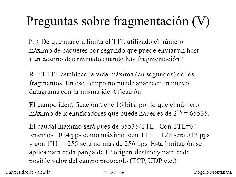 Preguntas sobre fragmentación (V)