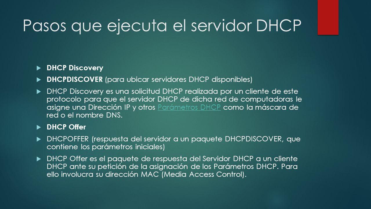 Pasos que ejecuta el servidor DHCP