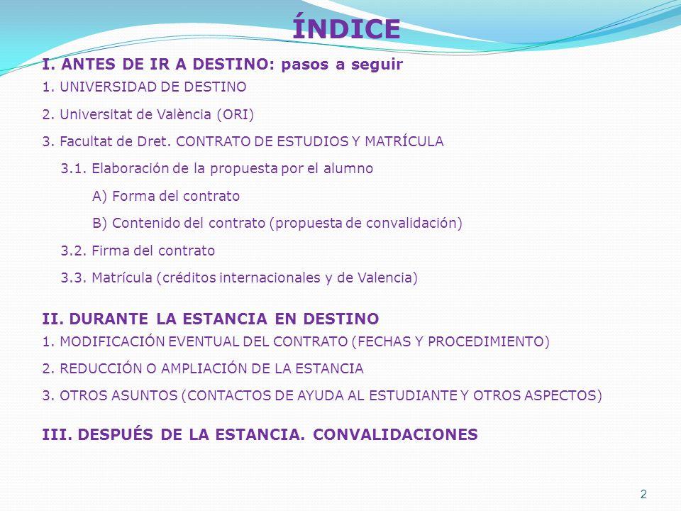 ÍNDICE I. ANTES DE IR A DESTINO: pasos a seguir