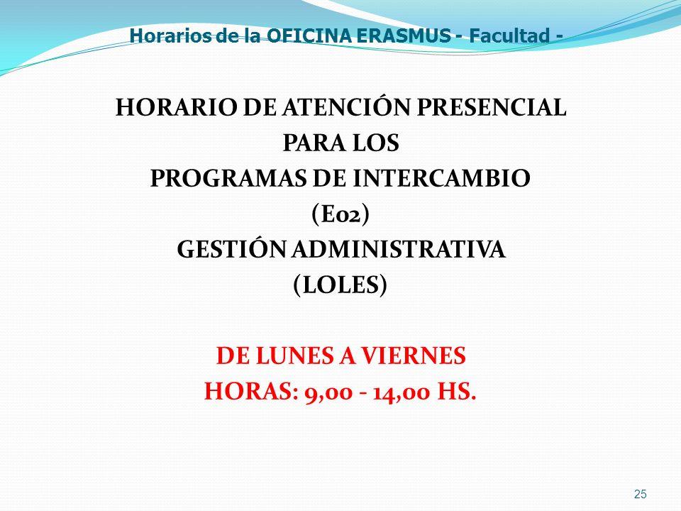 Horarios de la OFICINA ERASMUS - Facultad -