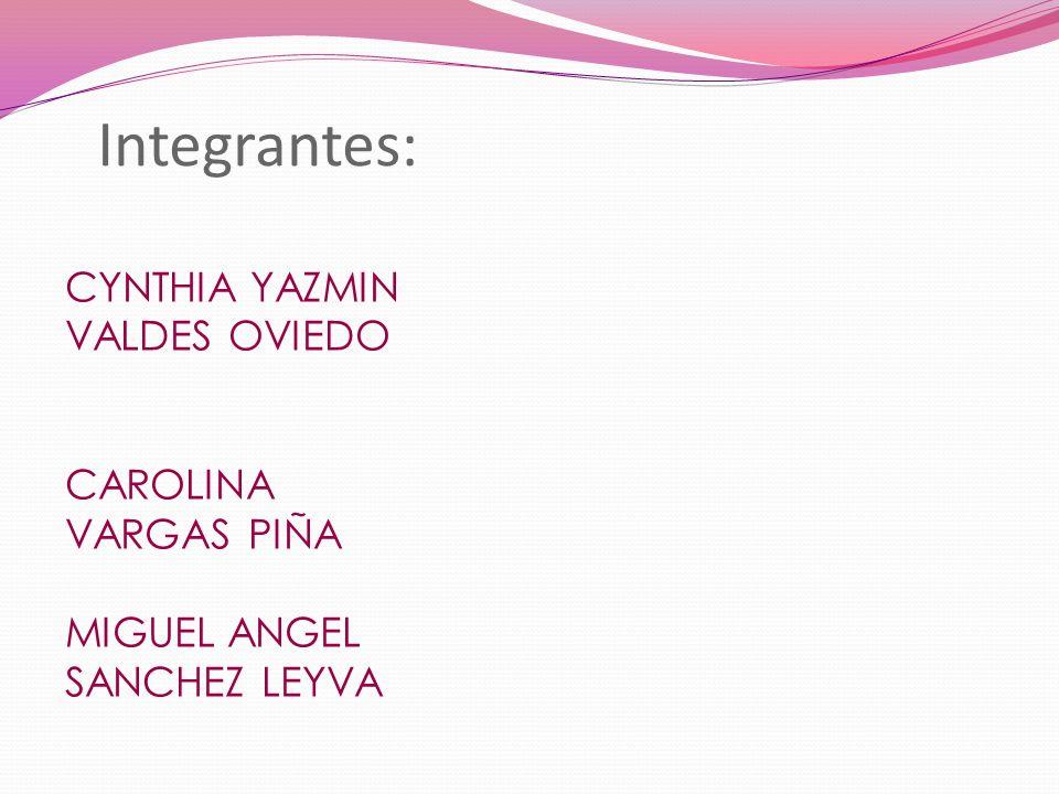 Integrantes: CYNTHIA YAZMIN VALDES OVIEDO CAROLINA VARGAS PIÑA