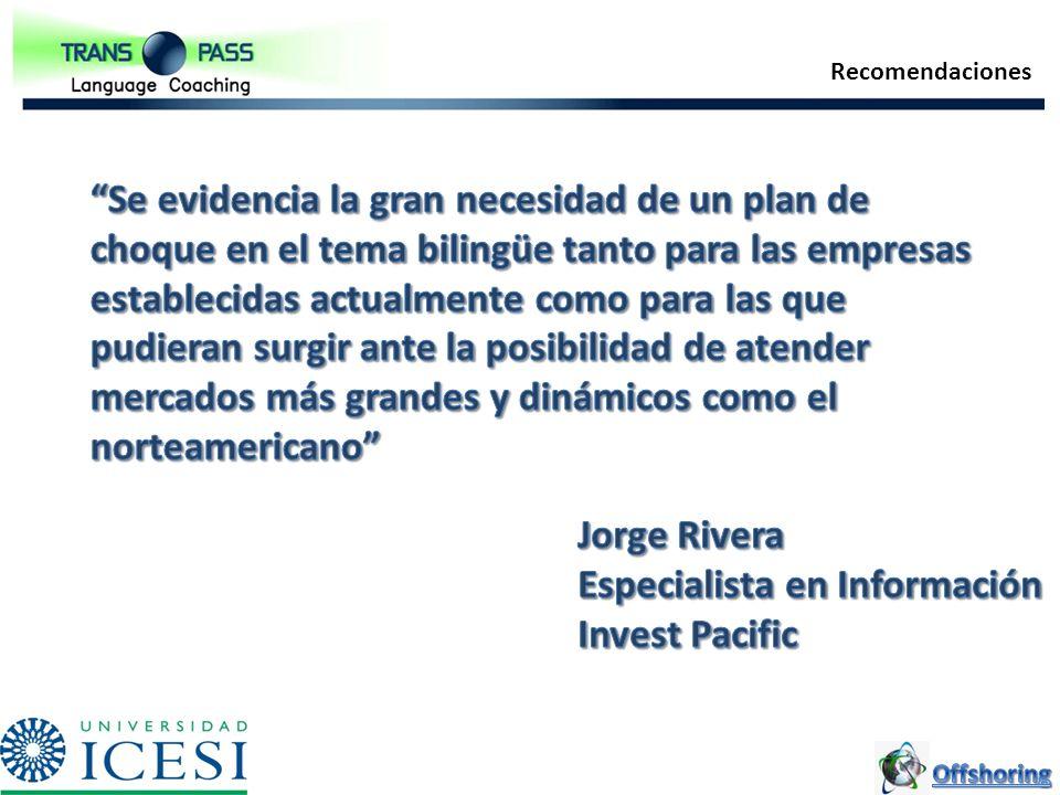 Especialista en Información Invest Pacific