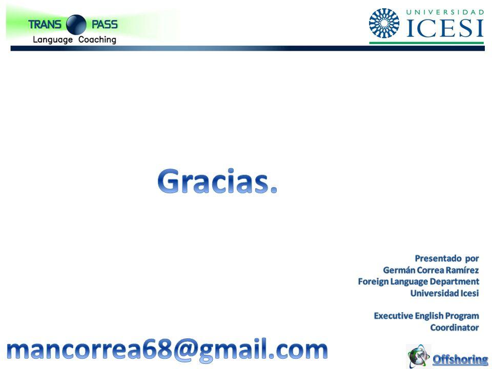 Gracias. mancorrea68@gmail.com Offshoring Presentado por