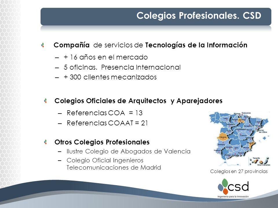 Colegios Profesionales. CSD