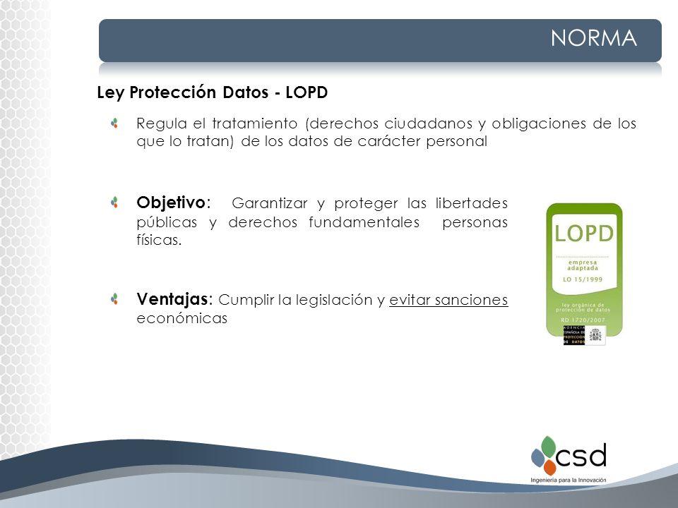 NORMA Ley Protección Datos - LOPD