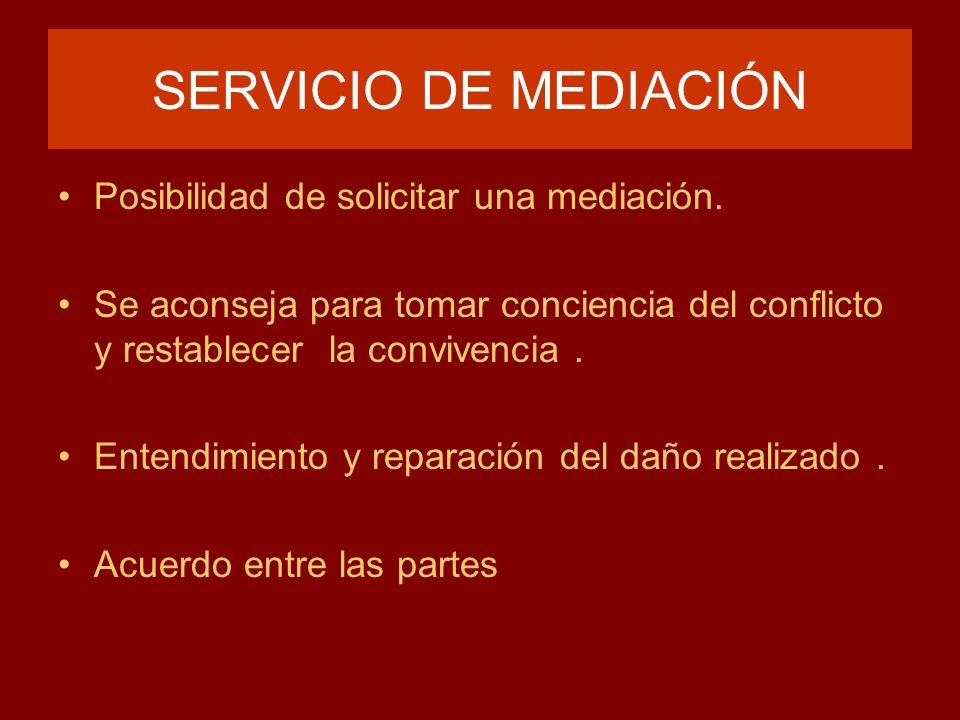 SERVICIO DE MEDIACIÓN Posibilidad de solicitar una mediación.
