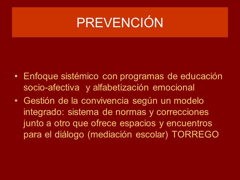PREVENCIÓN Enfoque sistémico con programas de educación socio-afectiva y alfabetización emocional.