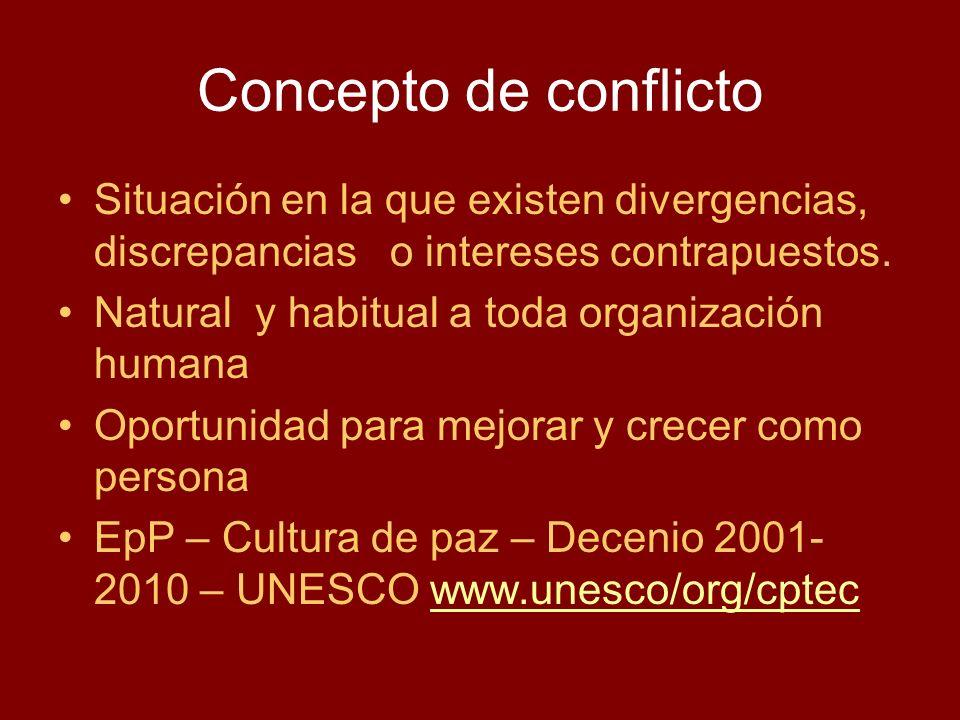 Concepto de conflicto Situación en la que existen divergencias, discrepancias o intereses contrapuestos.