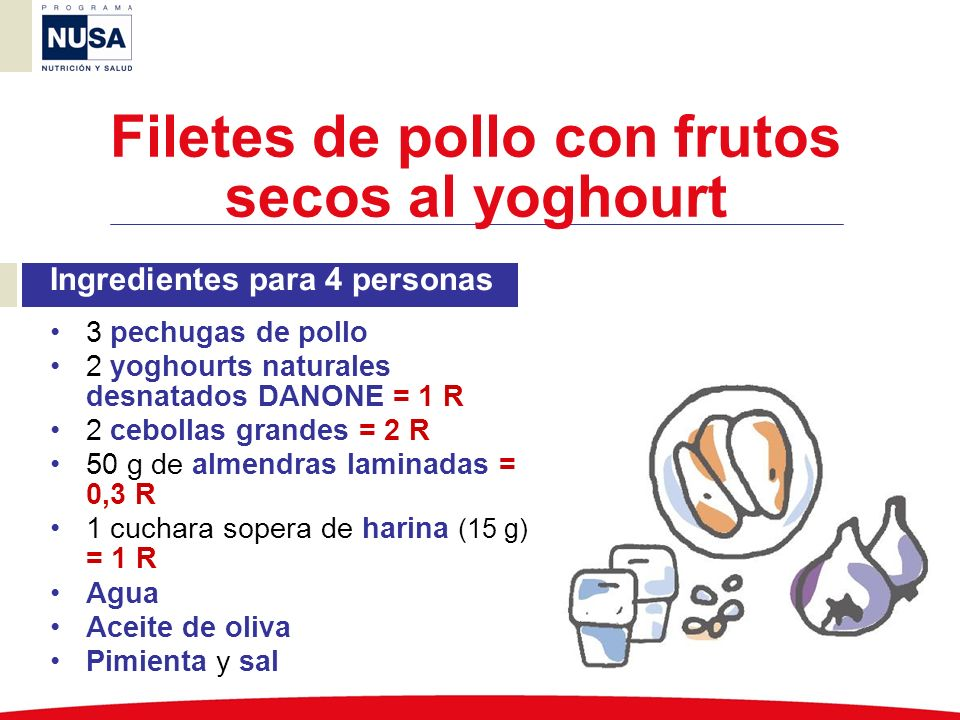 Filetes de pollo con frutos secos al yoghourt