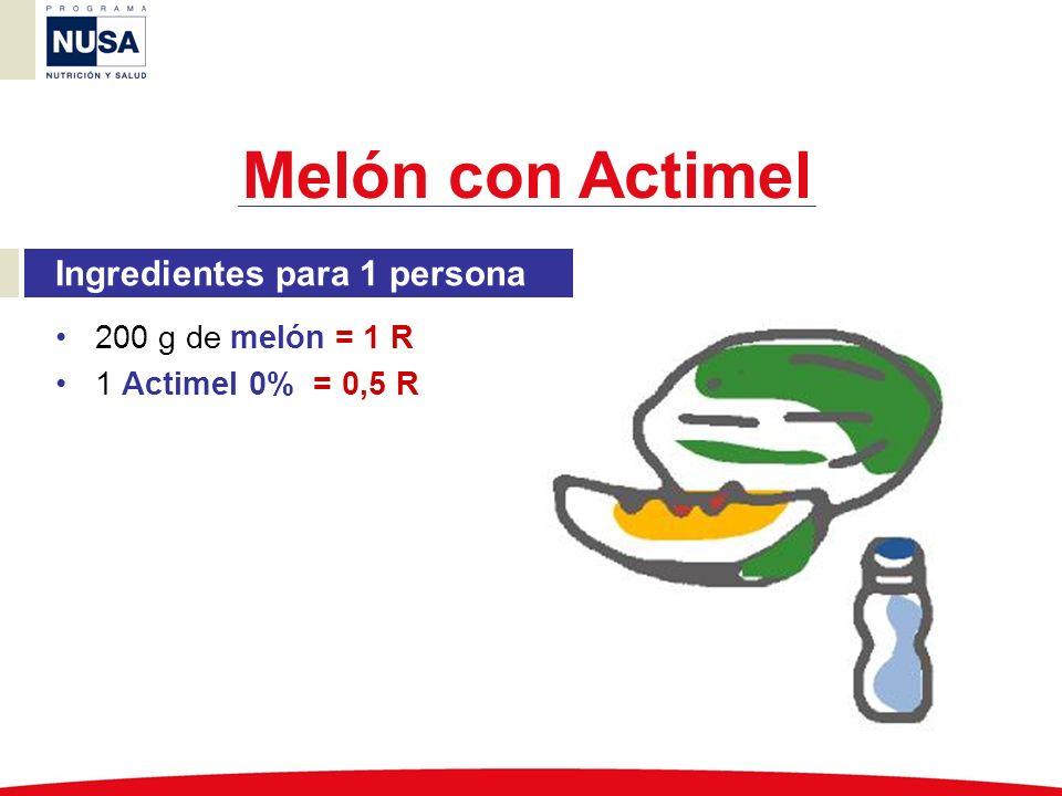 Melón con Actimel Ingredientes para 1 persona 200 g de melón = 1 R