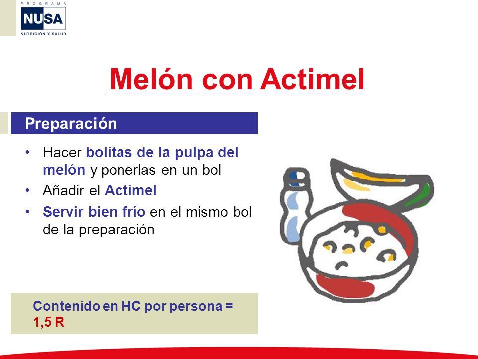 Melón con Actimel Preparación