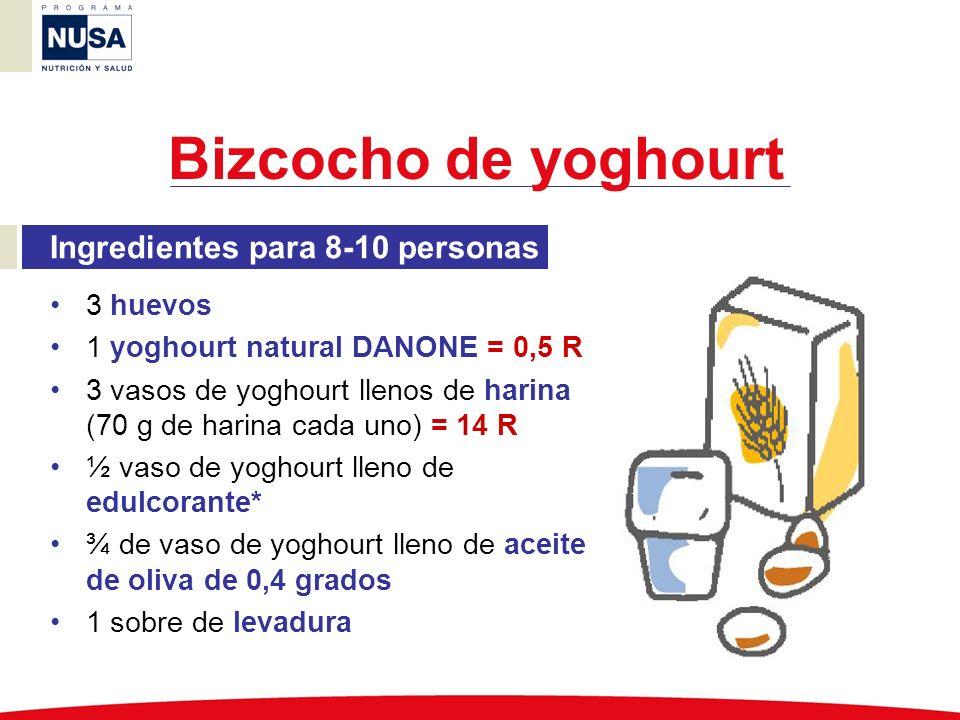 Bizcocho de yoghourt Ingredientes para 8-10 personas 3 huevos