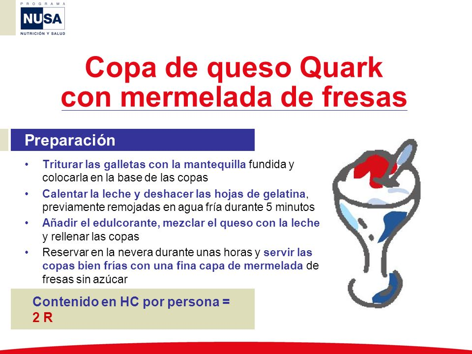 Copa de queso Quark con mermelada de fresas