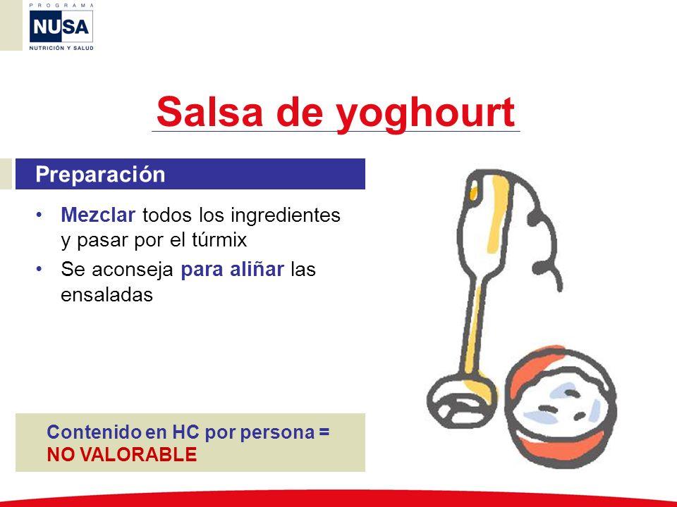 Salsa de yoghourt Preparación Mezclar todos los ingredientes