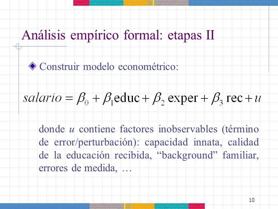 Análisis empírico formal: etapas II