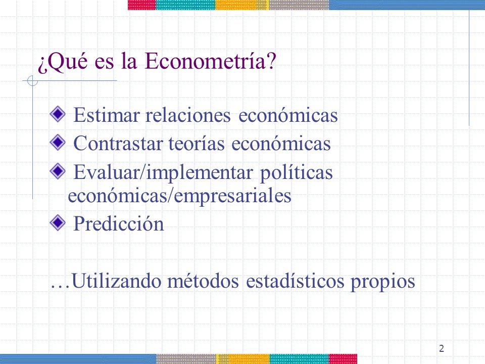 ¿Qué es la Econometría Estimar relaciones económicas
