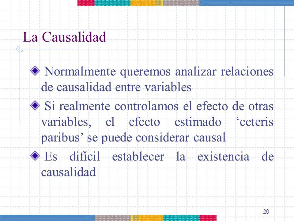 La Causalidad Normalmente queremos analizar relaciones de causalidad entre variables.