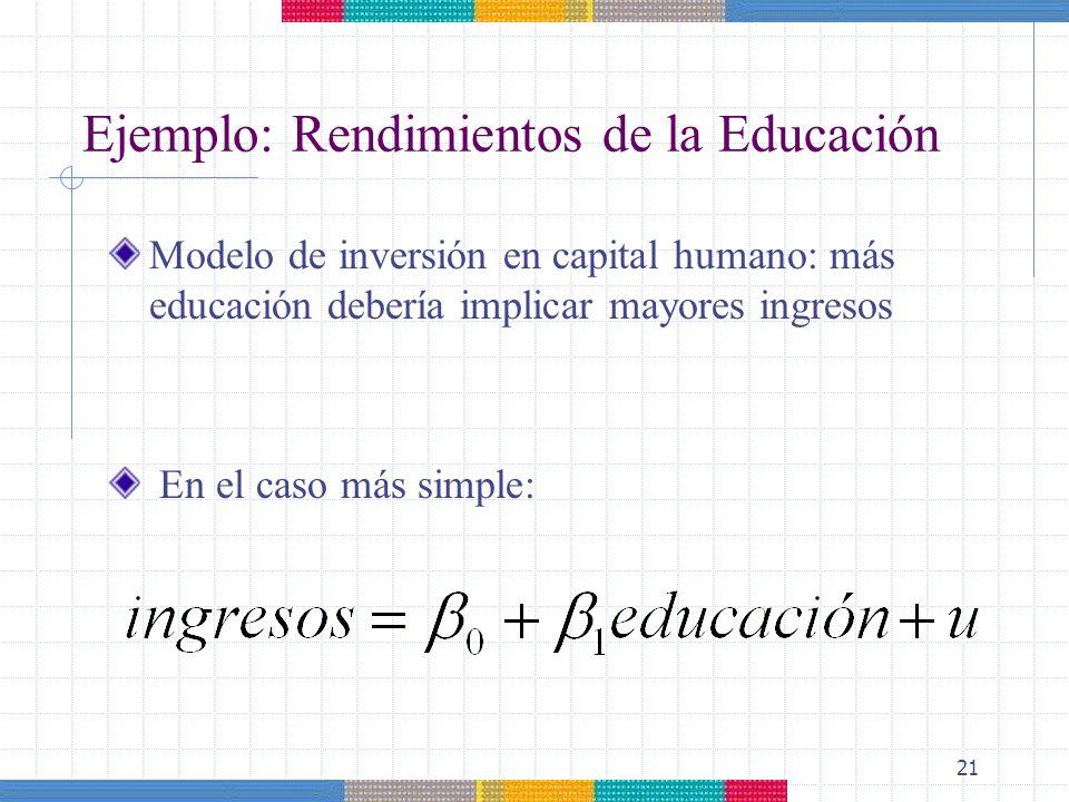 Ejemplo: Rendimientos de la Educación