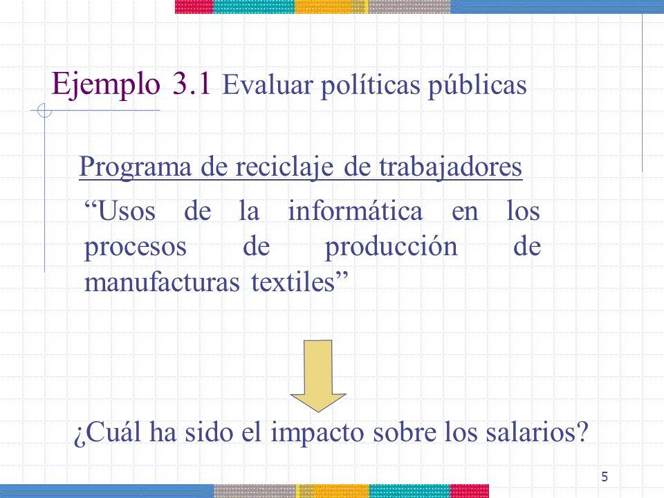 Ejemplo 3.1 Evaluar políticas públicas