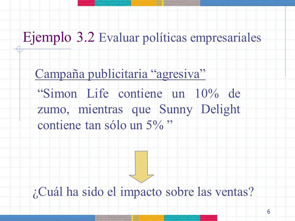 Ejemplo 3.2 Evaluar políticas empresariales