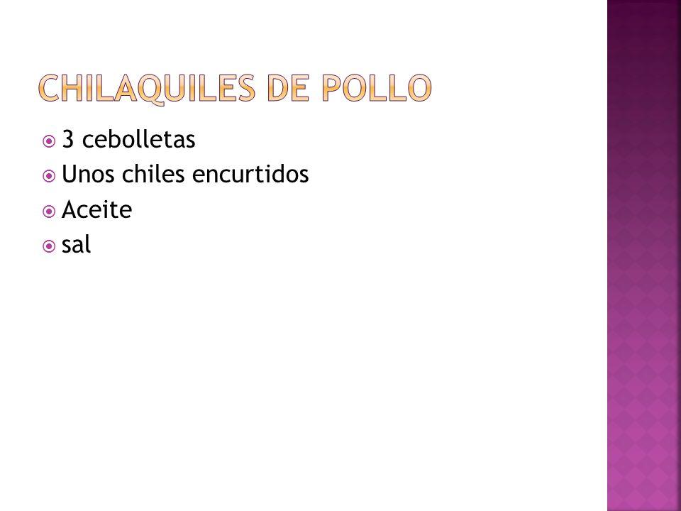 Chilaquiles de pollo 3 cebolletas Unos chiles encurtidos Aceite sal