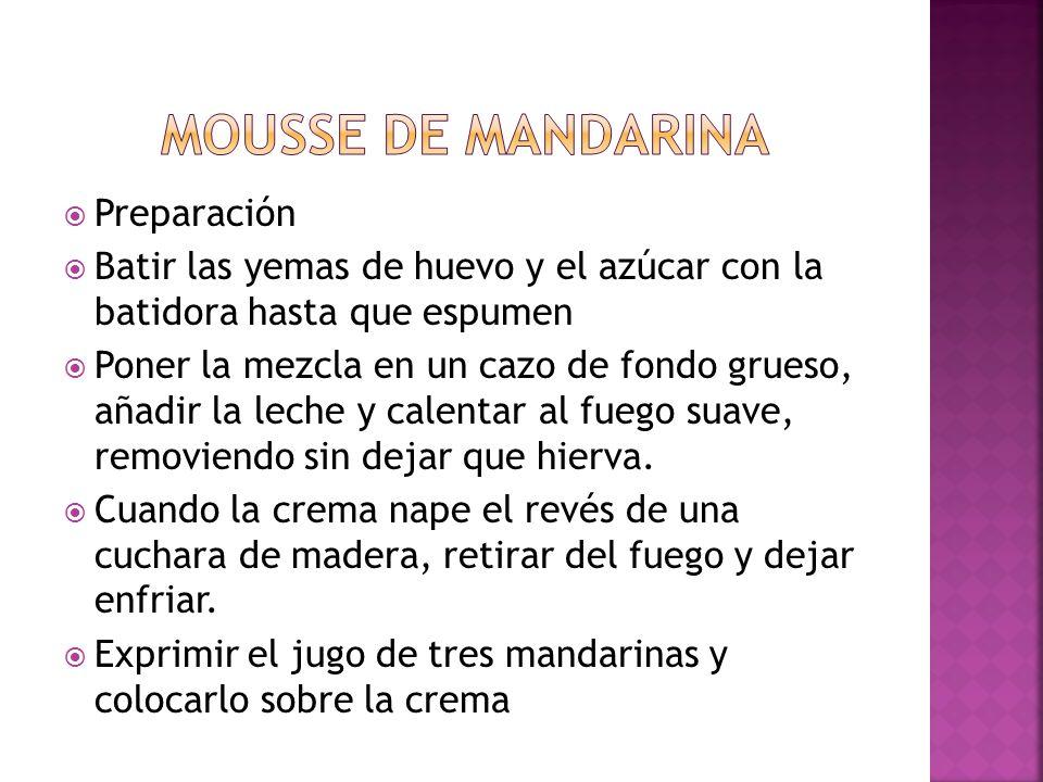 Mousse de mandarina Preparación