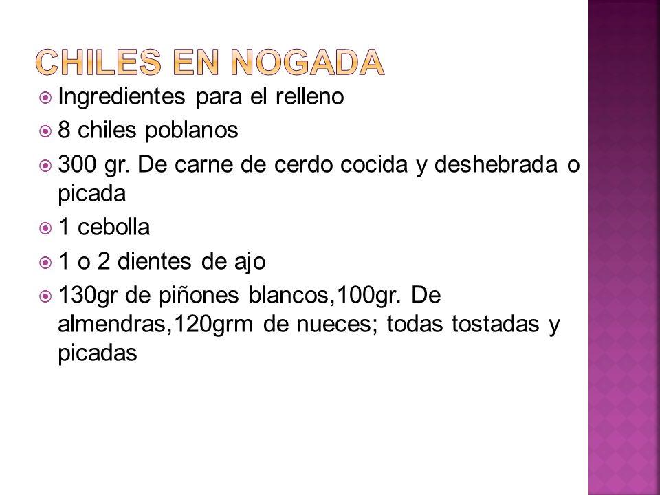 Chiles en nogada Ingredientes para el relleno 8 chiles poblanos