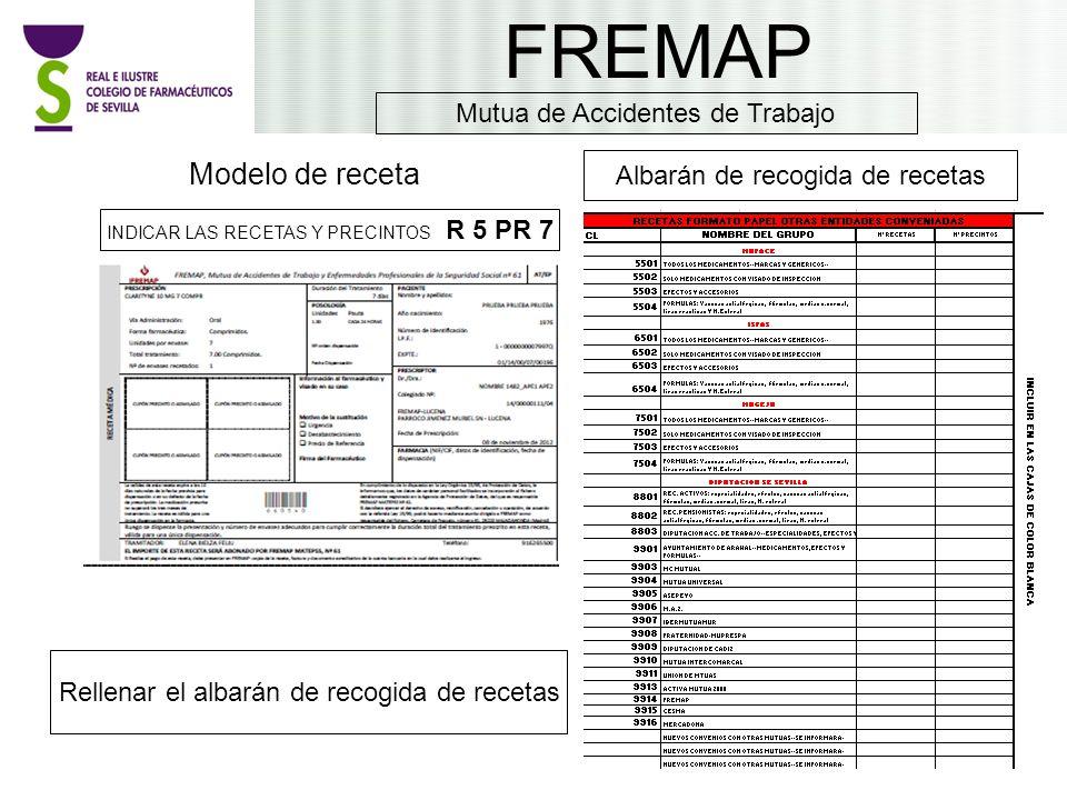 FREMAP Modelo de receta Mutua de Accidentes de Trabajo