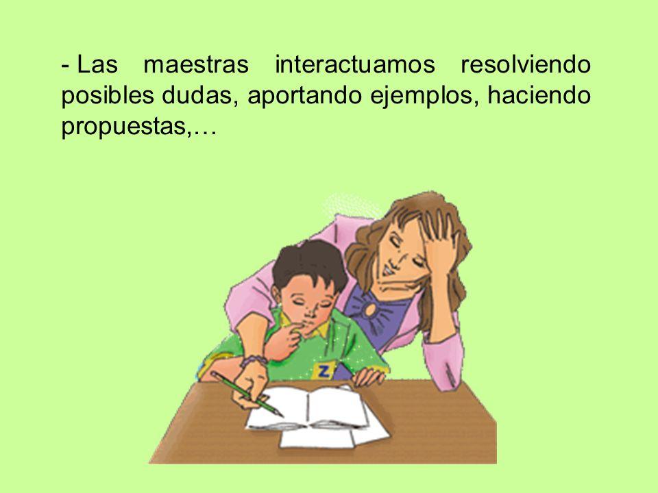 Las maestras interactuamos resolviendo posibles dudas, aportando ejemplos, haciendo propuestas,…