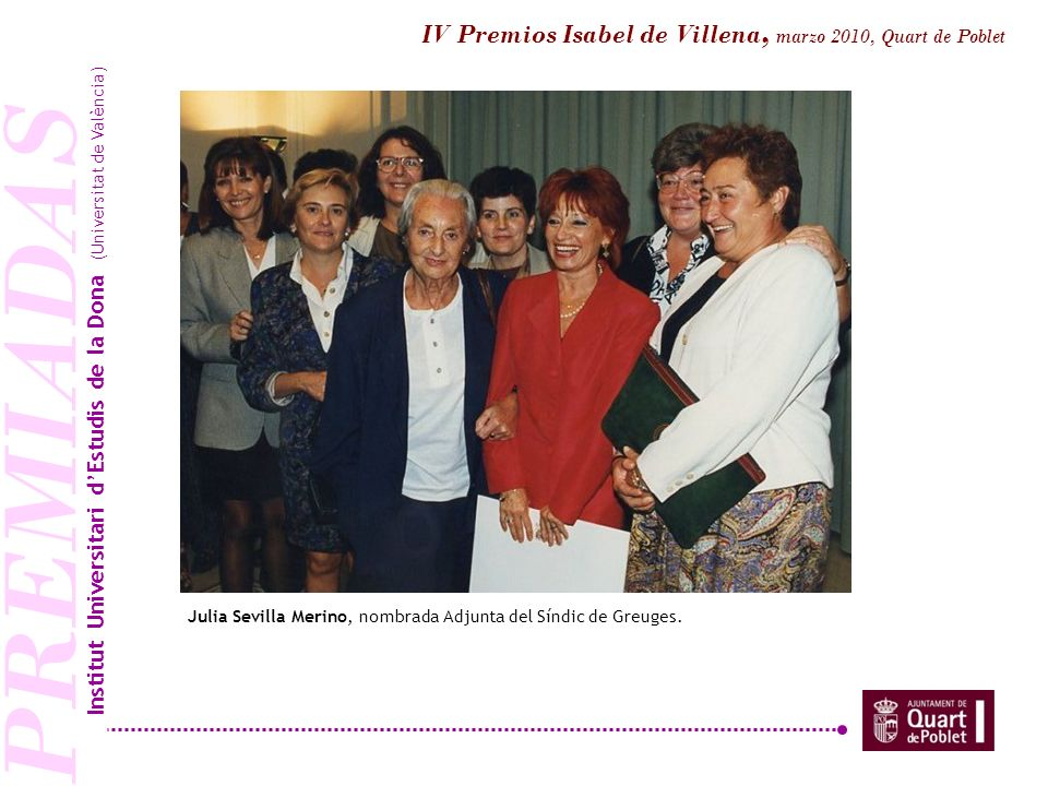 PREMIADAS IV Premios Isabel de Villena, marzo 2010, Quart de Poblet