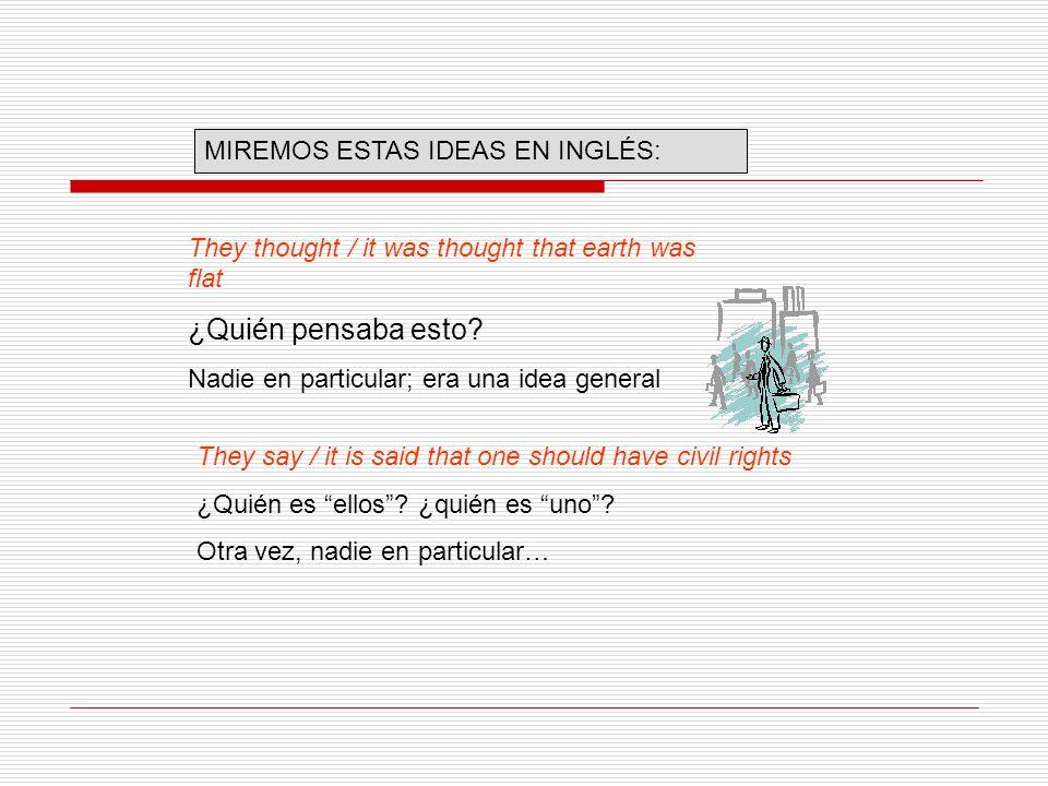 ¿Quién pensaba esto MIREMOS ESTAS IDEAS EN INGLÉS: