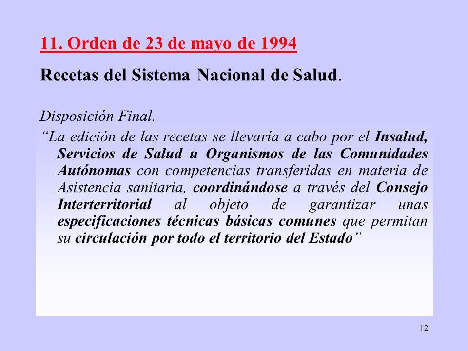 11. Orden de 23 de mayo de 1994 Recetas del Sistema Nacional de Salud.