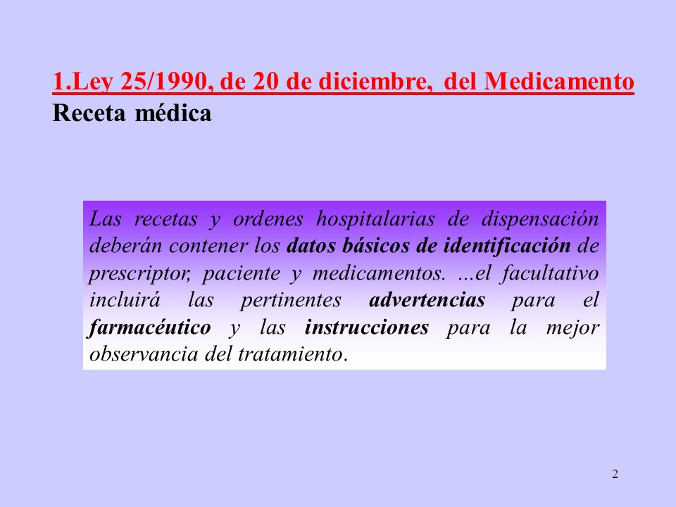 1.Ley 25/1990, de 20 de diciembre, del Medicamento Receta médica