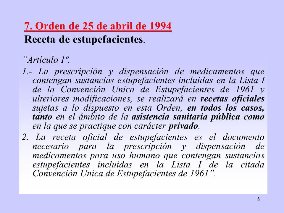 7. Orden de 25 de abril de 1994 Receta de estupefacientes.