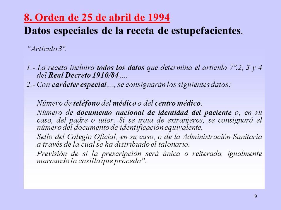 8. Orden de 25 de abril de 1994 Datos especiales de la receta de estupefacientes.