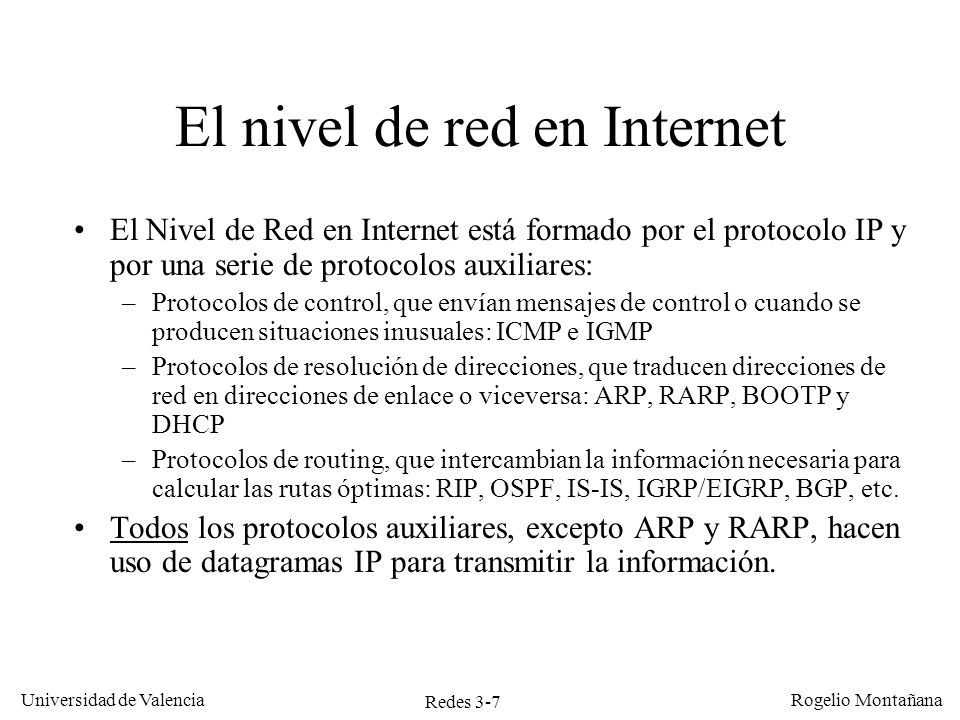 El nivel de red en Internet