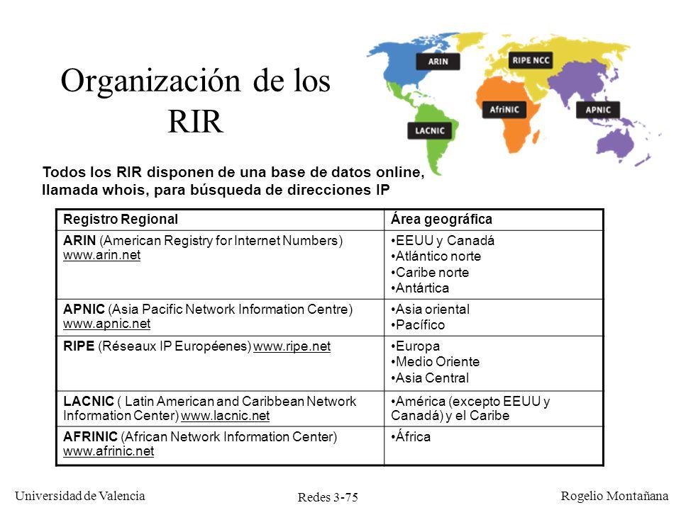 Organización de los RIR