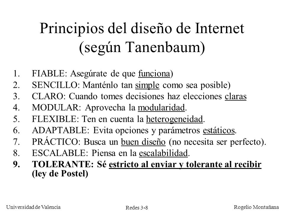Principios del diseño de Internet (según Tanenbaum)