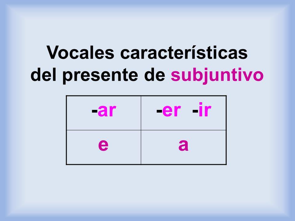 Vocales características del presente de subjuntivo