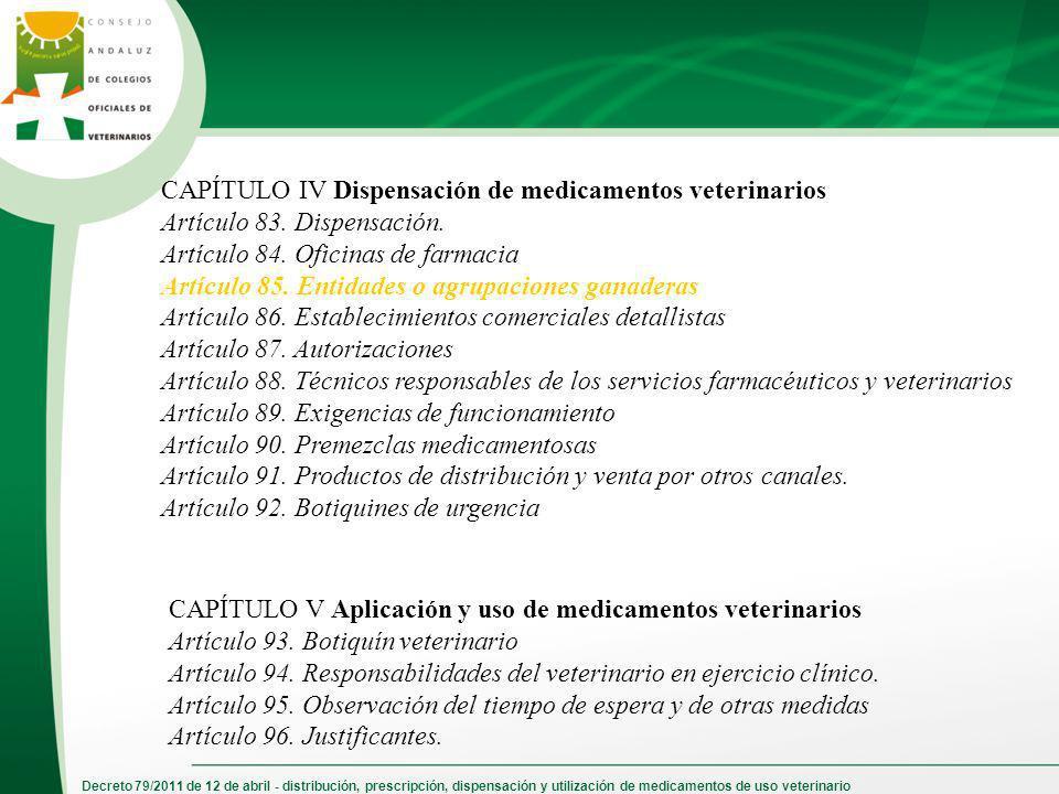 CAPÍTULO IV Dispensación de medicamentos veterinarios