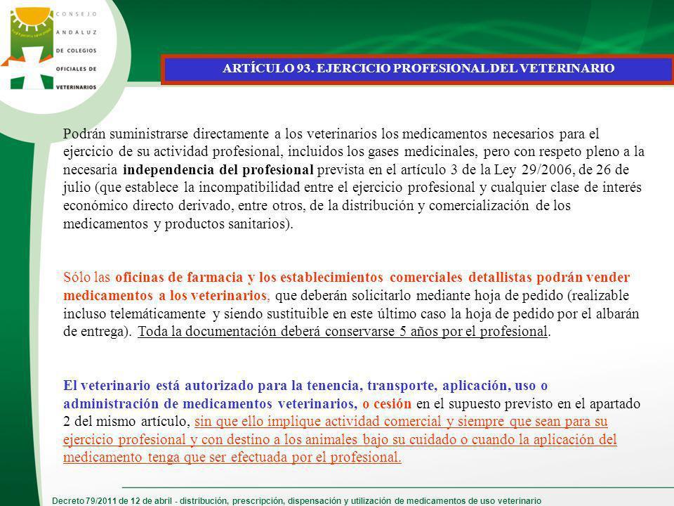 ARTÍCULO 93. EJERCICIO PROFESIONAL DEL VETERINARIO