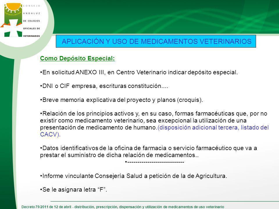 APLICACIÓN Y USO DE MEDICAMENTOS VETERINARIOS