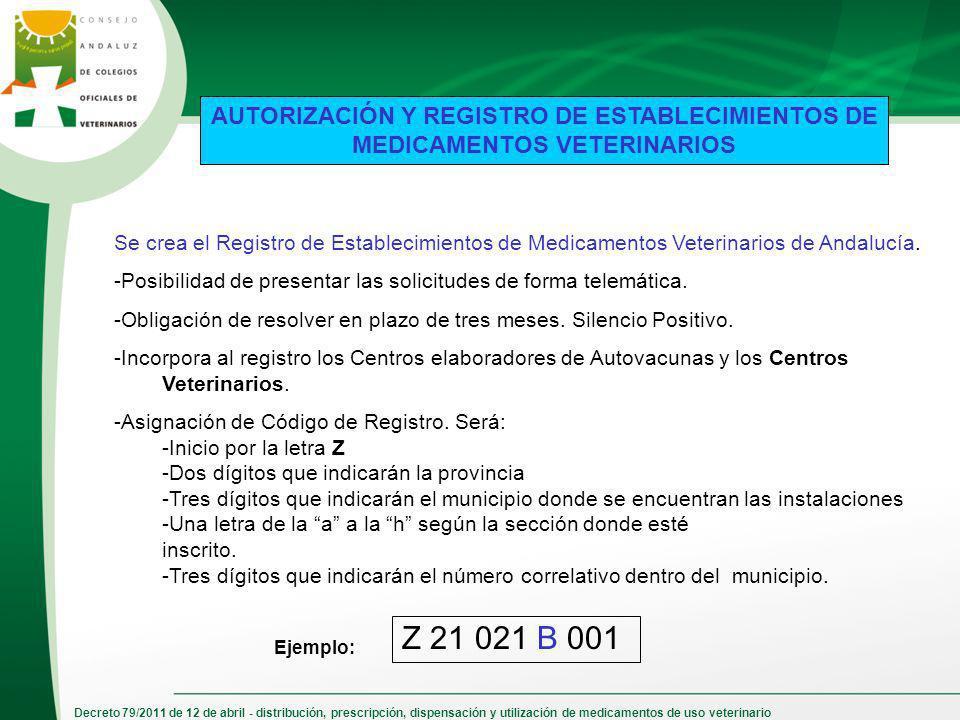 AUTORIZACIÓN Y REGISTRO DE ESTABLECIMIENTOS DE MEDICAMENTOS VETERINARIOS