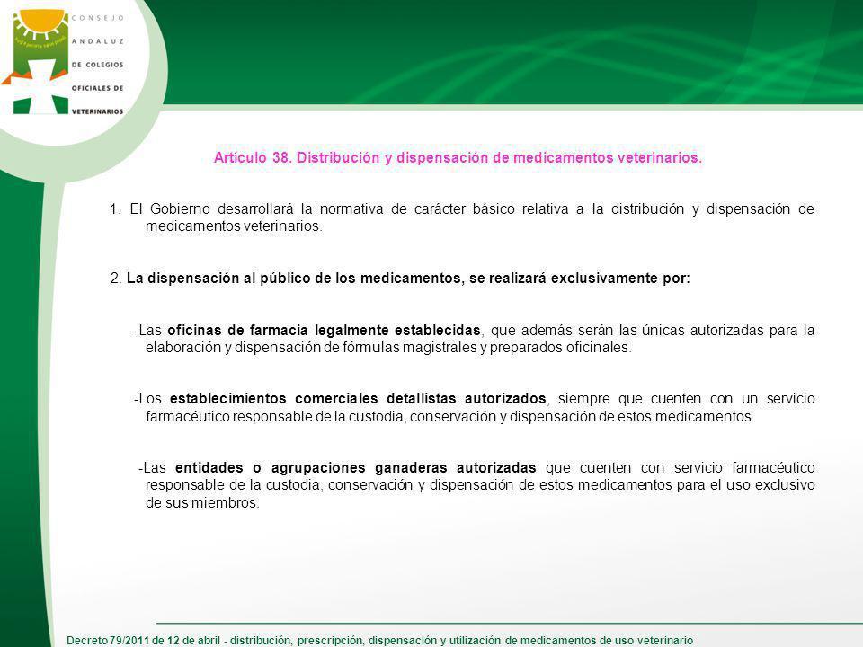 Artículo 38. Distribución y dispensación de medicamentos veterinarios.