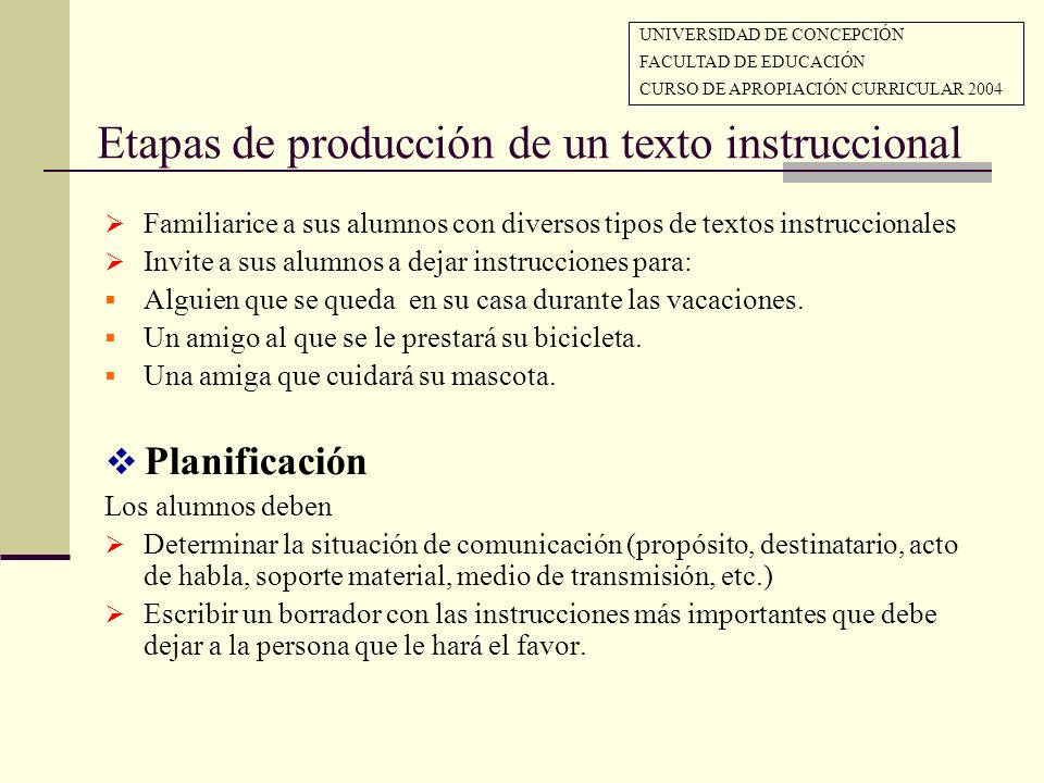 Etapas de producción de un texto instruccional