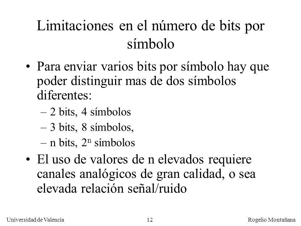 Limitaciones en el número de bits por símbolo